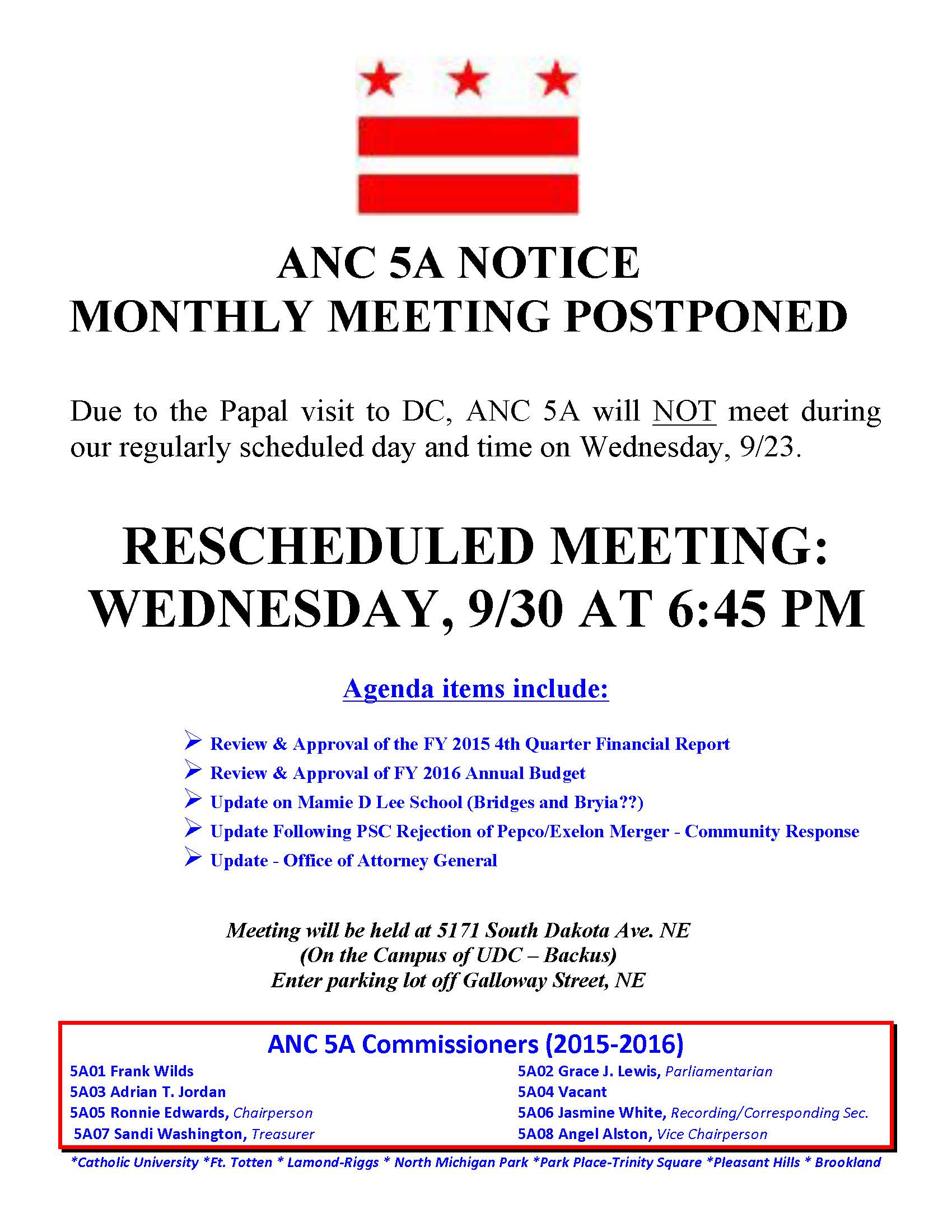 Anc 5a meeting rescheduled for september 30 next stop for Reschedule meeting email template