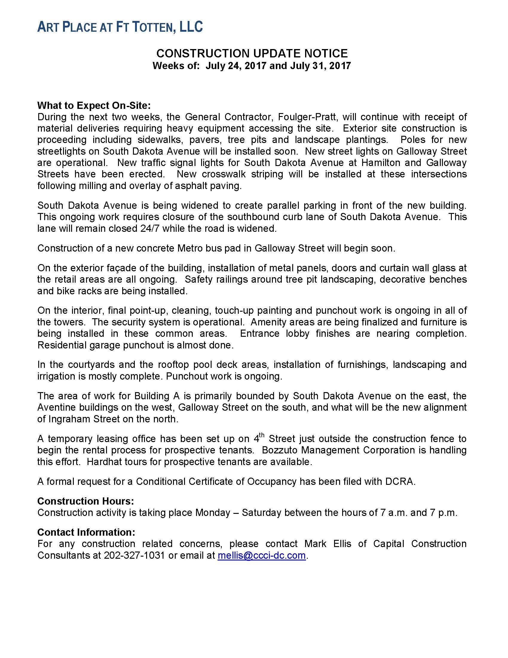 Art Place Construction Notice Next Stop - 2017 july 31